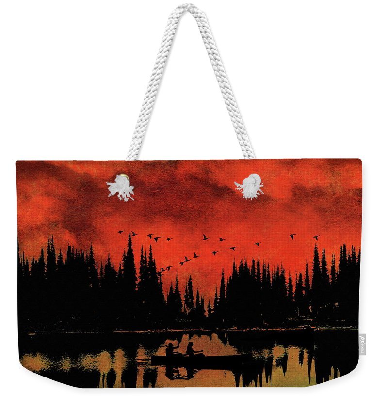 Ducks Weekender Tote Bag featuring the photograph Sunset Flight Of The Ducks by Andrea Kollo