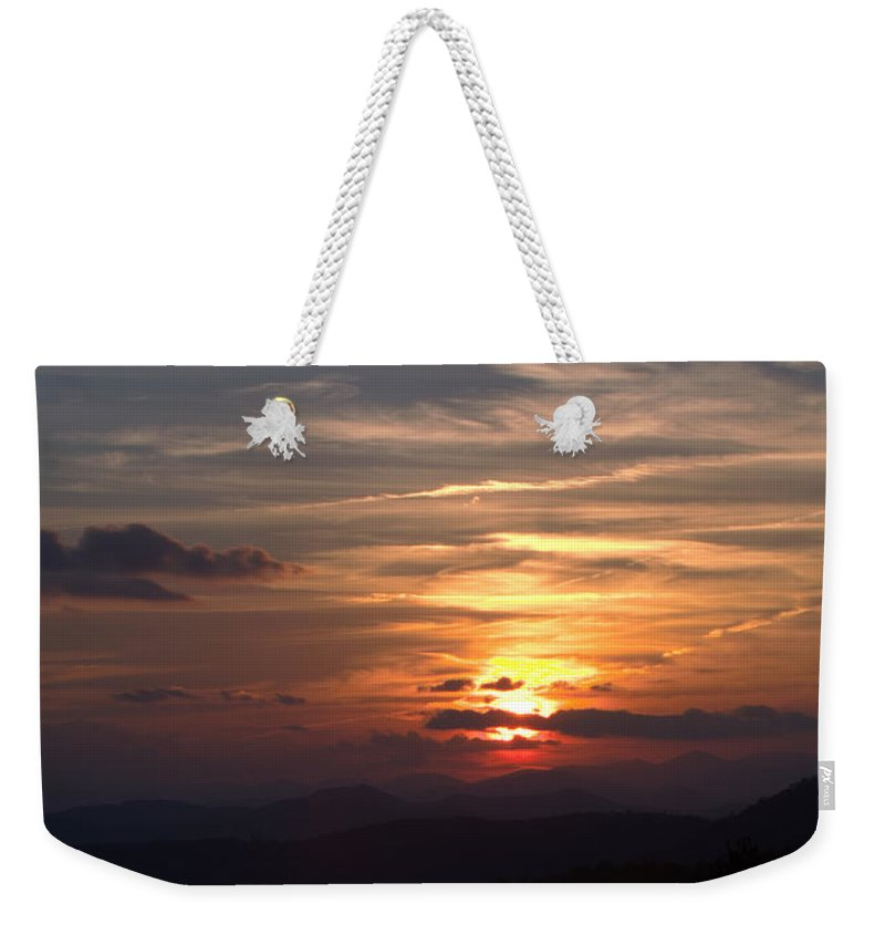 Mountains Weekender Tote Bag featuring the photograph Sunset From The Blue Ridge Parkway Ll by John Harmon