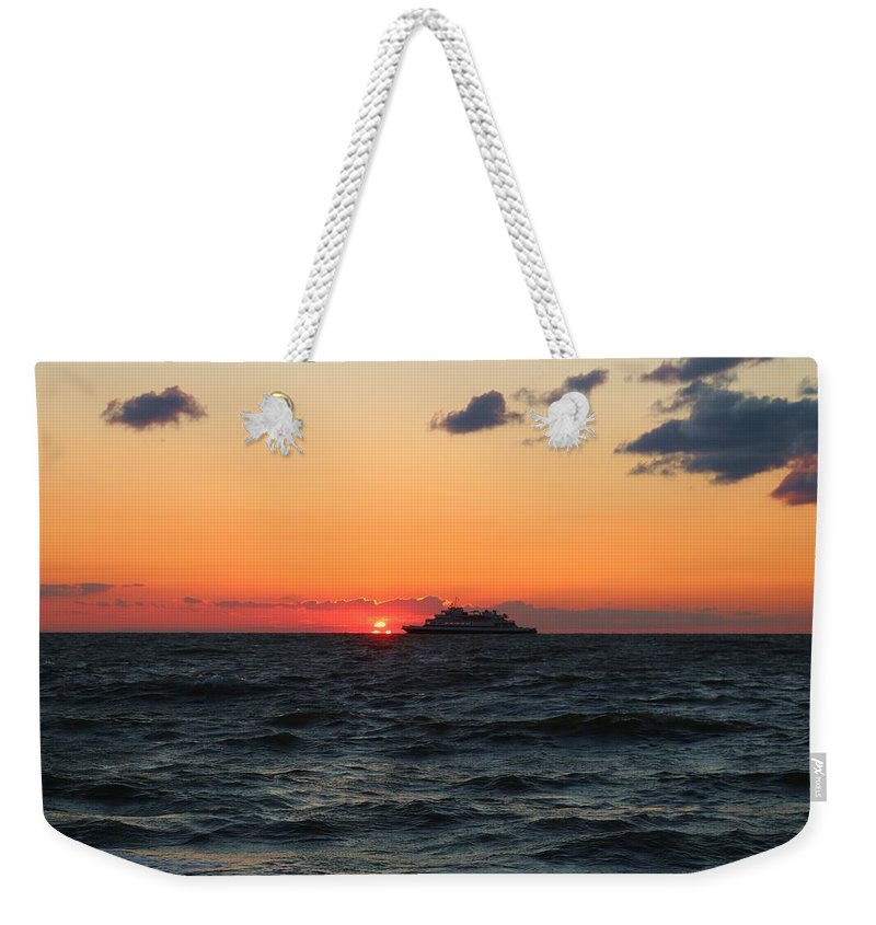 Cape May Weekender Tote Bag featuring the photograph Sunset From The Ferry by Terrie Stickle