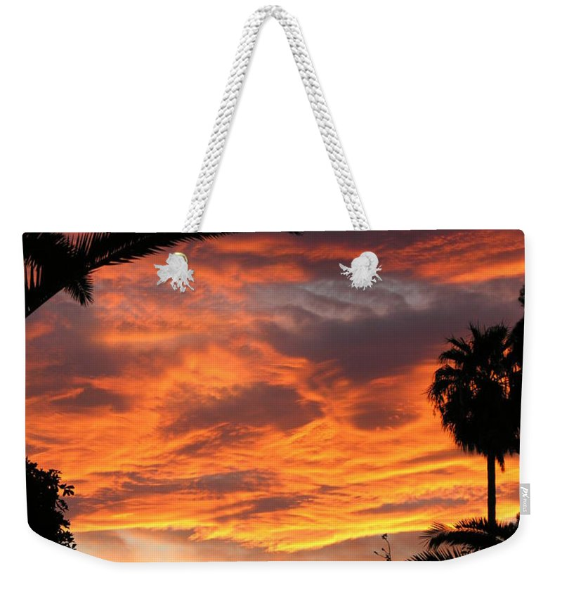 Sunset Weekender Tote Bag featuring the photograph Sunset God's Fingers In Clouds by Diane Greco-Lesser