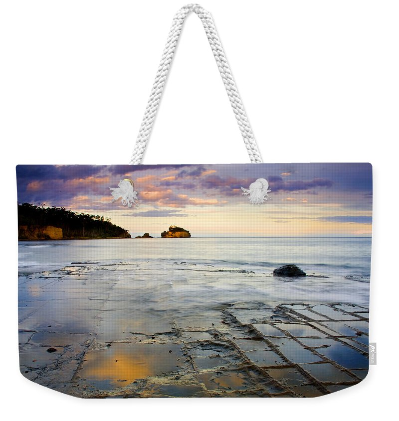Tesselated Pavement Weekender Tote Bag featuring the photograph Sunset Grid by Mike Dawson