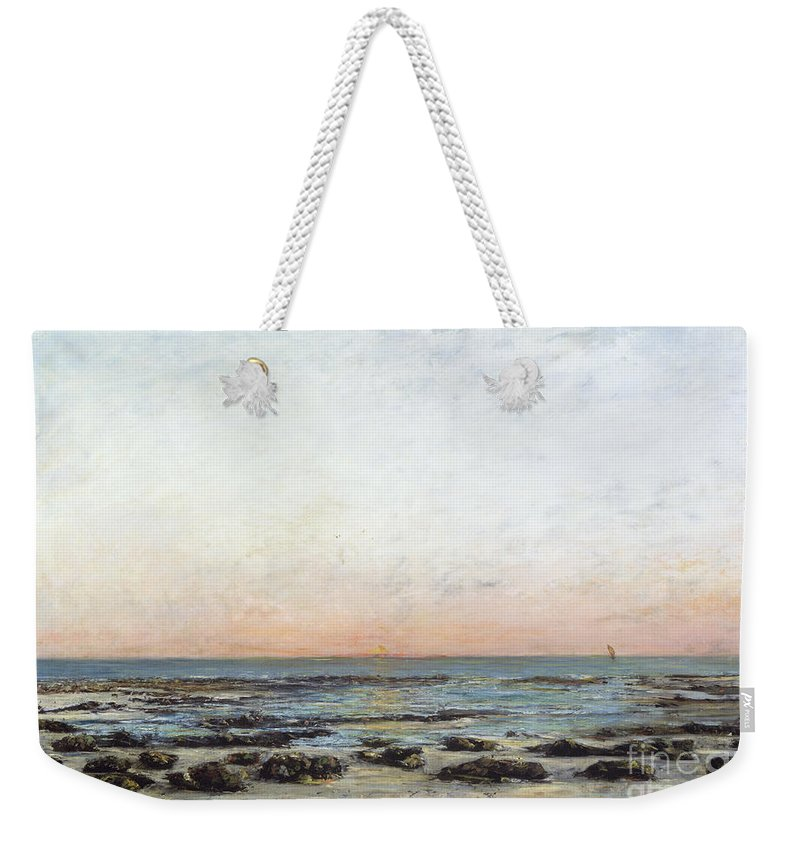 Sunset Weekender Tote Bag featuring the painting Sunset by Gustave Courbet