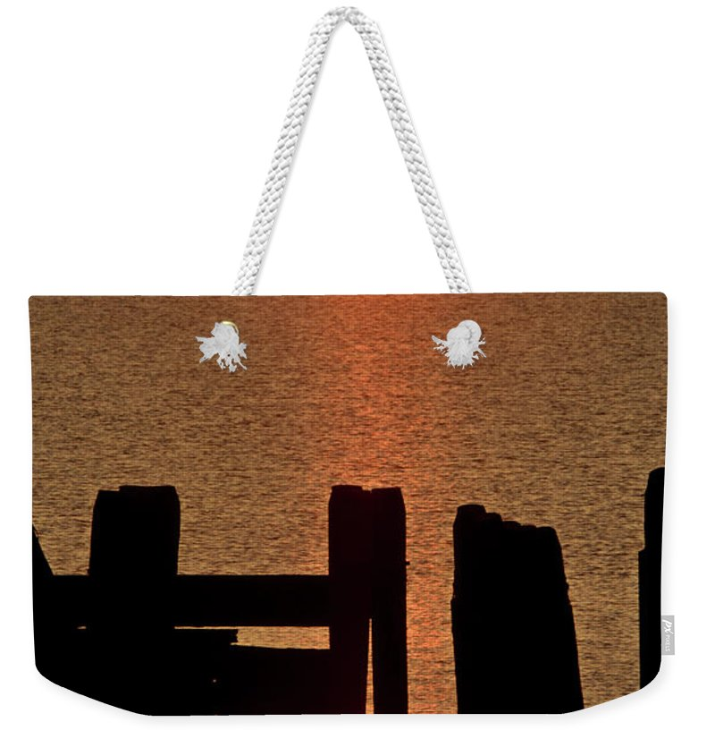 Sunset Weekender Tote Bag featuring the digital art Sunset Hecla Island Manitoba Canada by Mark Duffy
