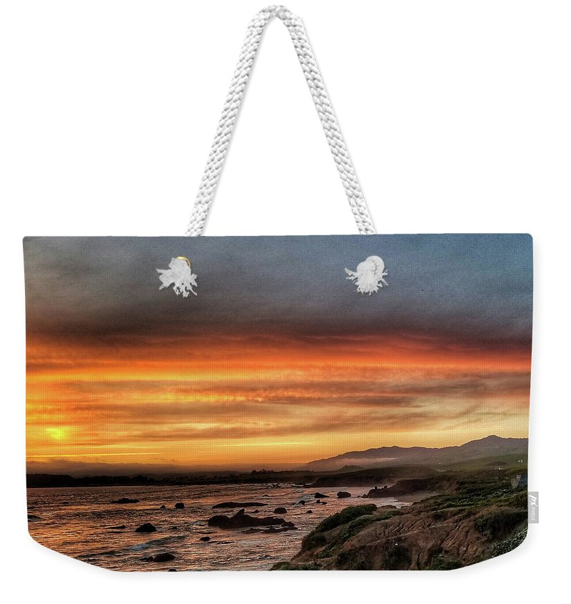 Cambria Weekender Tote Bag featuring the photograph Sunset In Cambria by Aaron James