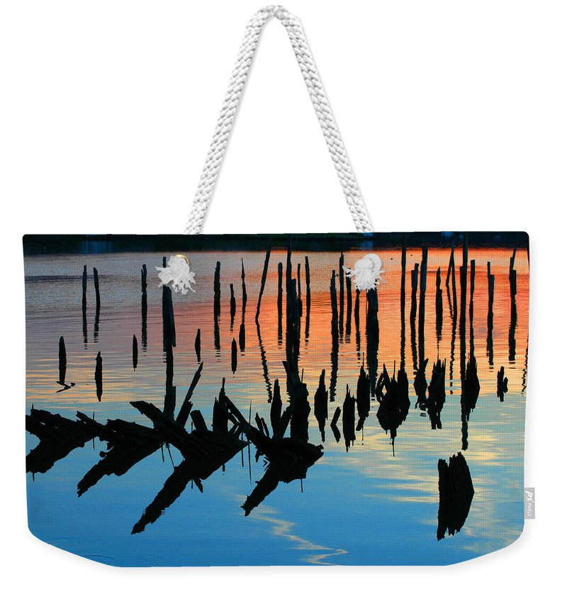 Clay Weekender Tote Bag featuring the photograph Sunset In Colonial Beach Virginia by Clayton Bruster
