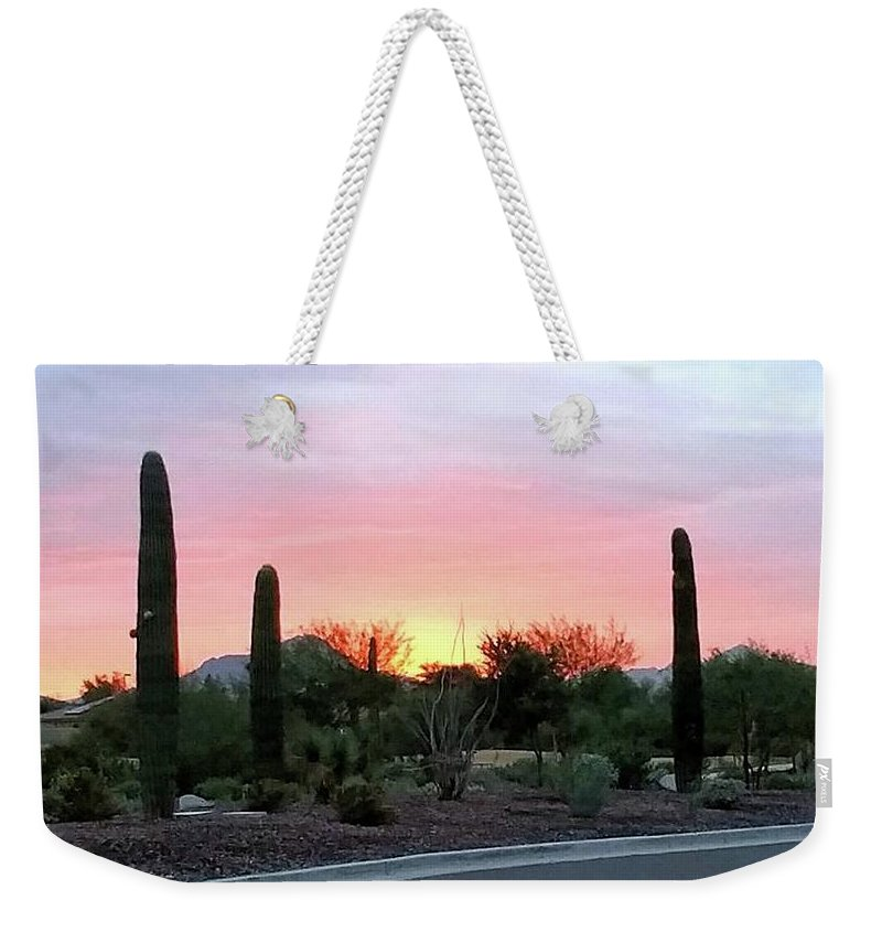Arizona;sunset;desert Sunset;goodyear Weekender Tote Bag featuring the photograph Arizona Sunset by Gail Oleaga