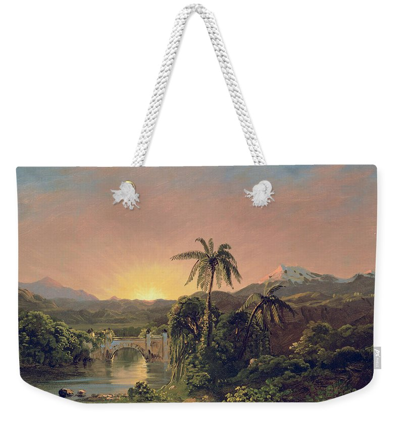 Sunset Sunset In Equador (oil On Canvas) By Frederic Edwin Church (1826-1900) Weekender Tote Bag featuring the painting Sunset in Equador by Frederic Edwin Church