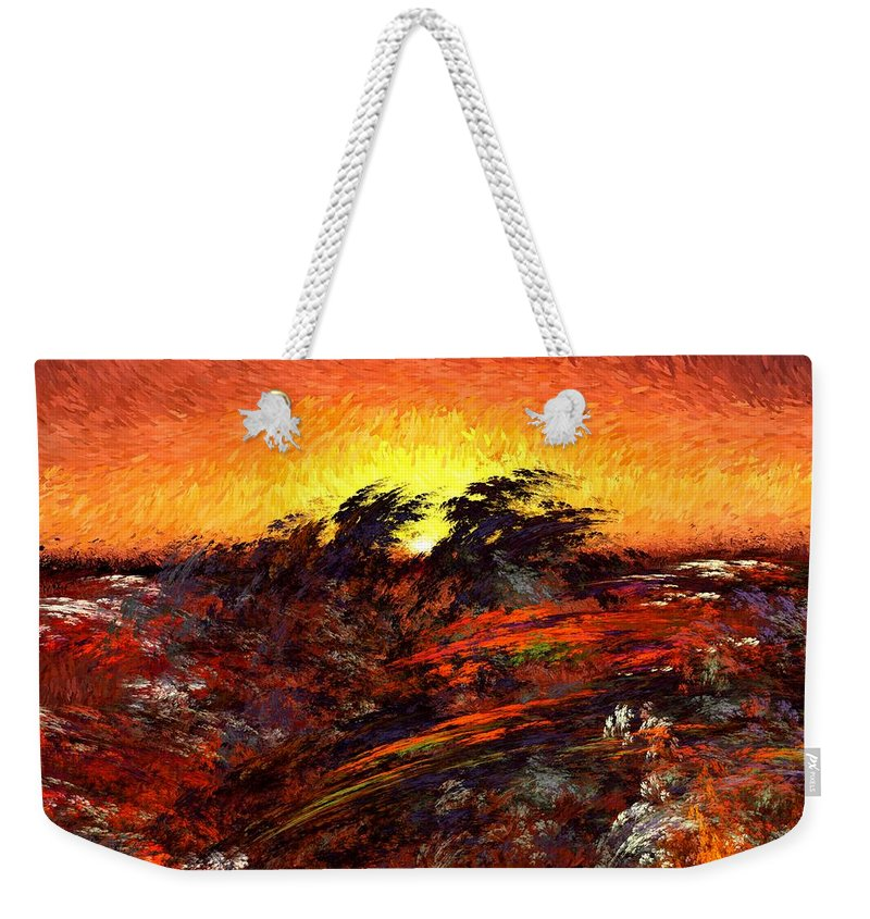 Abstract Digital Painting Weekender Tote Bag featuring the digital art Sunset In Paradise by David Lane