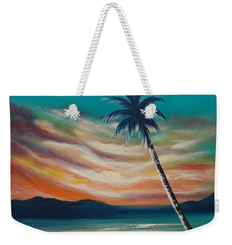 Sunset Weekender Tote Bag featuring the painting Sunset In Paradise by Gina De Gorna