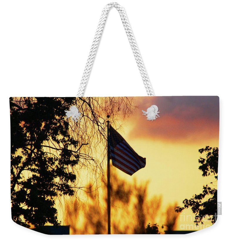 Flag Weekender Tote Bag featuring the photograph Sunset In San Diego by Tommy Anderson