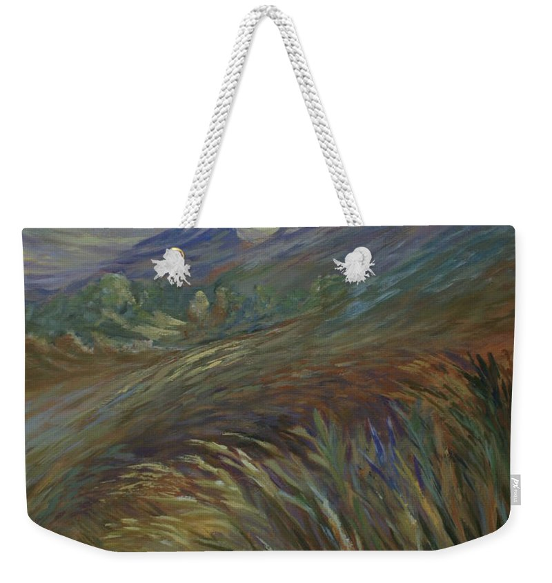 Sunset In Mountains Weekender Tote Bag featuring the painting Sunset In The Mountains by Joanne Smoley