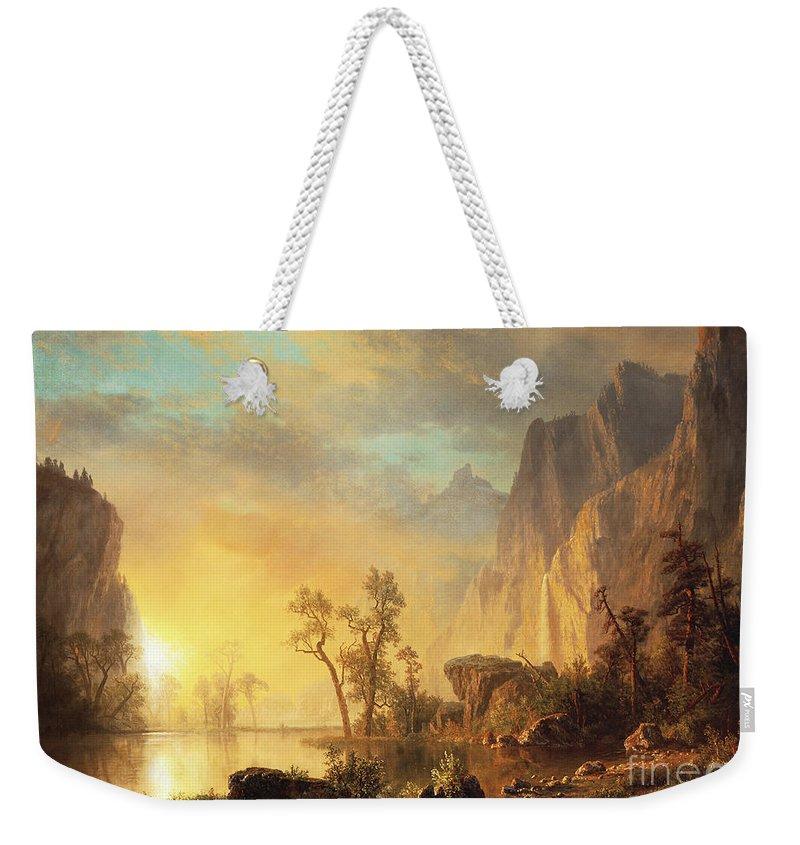Bierstadt Weekender Tote Bag featuring the painting Sunset In The Rockies by Albert Bierstadt
