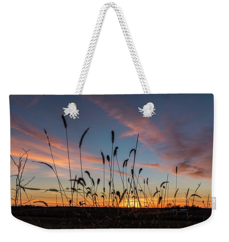 Iowa Weekender Tote Bag featuring the photograph Sunset In The Weeds by Willard Sharp
