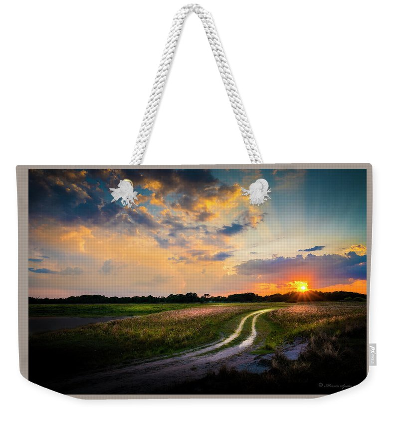 Backroads Weekender Tote Bag featuring the photograph Sunset Lane by Marvin Spates