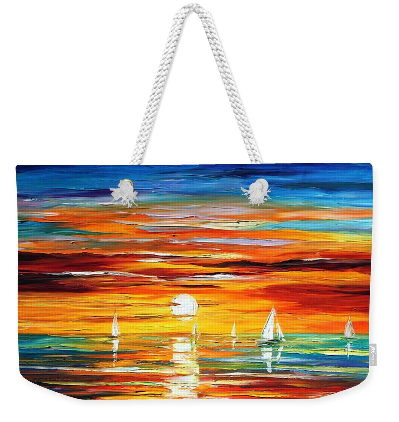 Afremov Weekender Tote Bag featuring the painting Sunset by Leonid Afremov