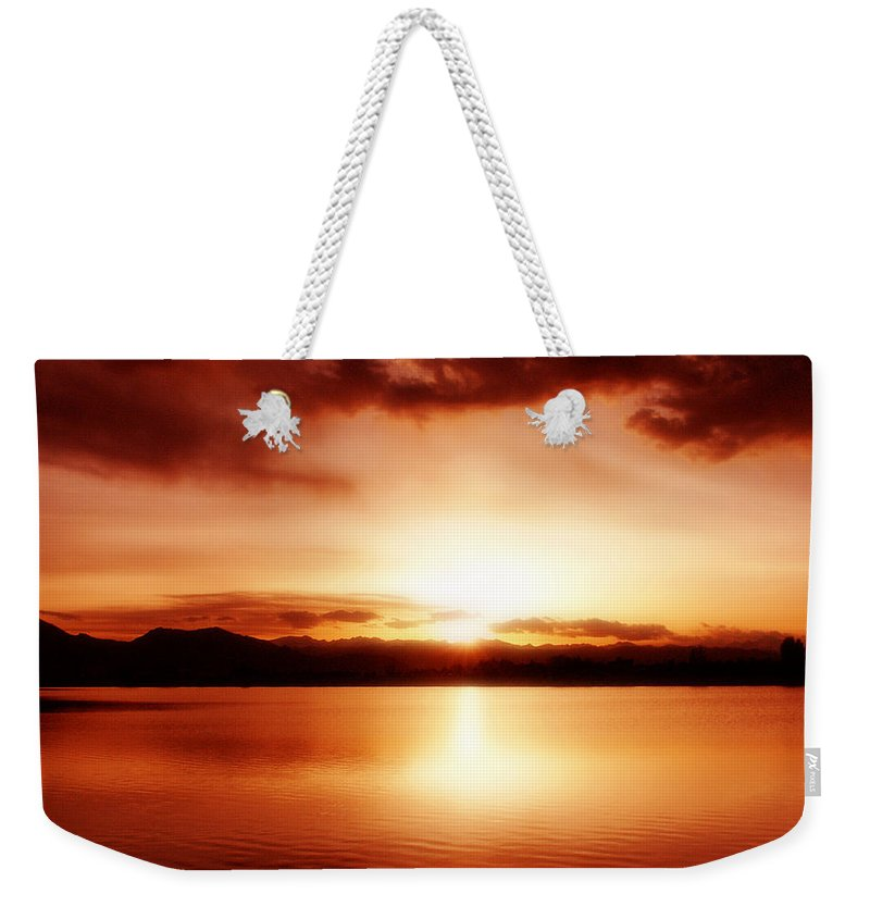 Lake Weekender Tote Bag featuring the photograph Sunset by Marilyn Hunt