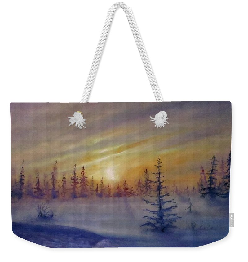 Winter Weekender Tote Bag featuring the painting Sunset by Natalja Picugina