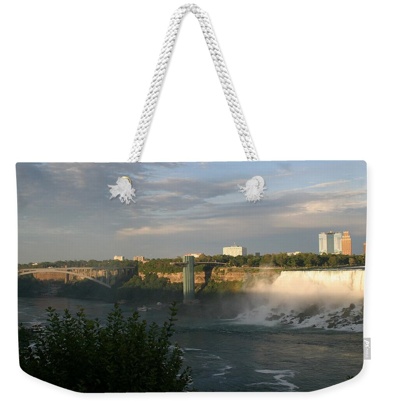 Niagara Falls Weekender Tote Bag featuring the photograph Sunset On American Falls 2 by Living Color Photography Lorraine Lynch