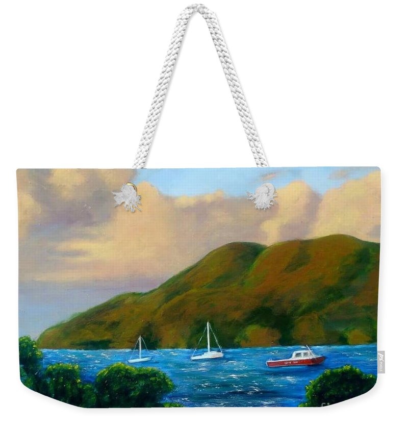 Sunset Weekender Tote Bag featuring the painting Sunset On Cruz Bay by Laurie Morgan