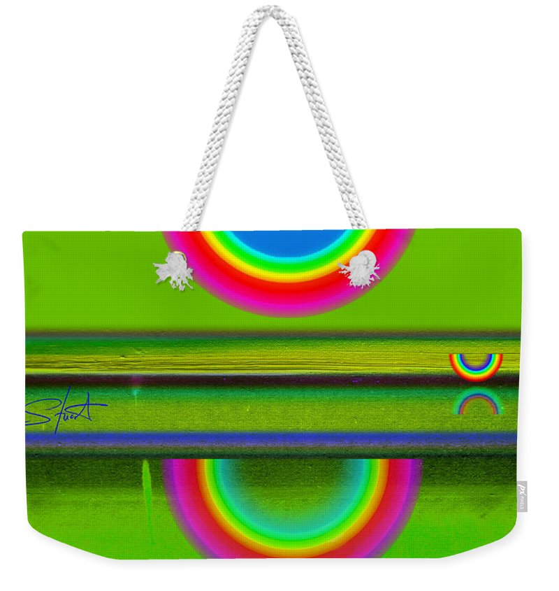 Reflections Weekender Tote Bag featuring the painting Sunset On Green by Charles Stuart