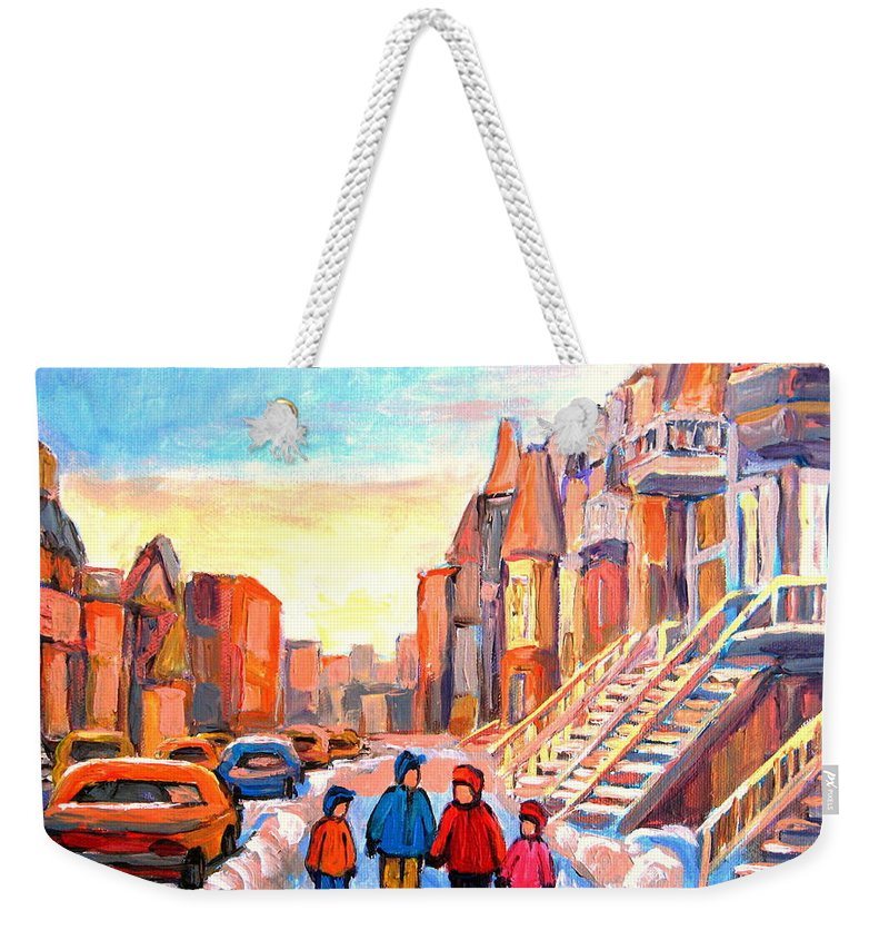 Sunset On Hotel De Ville Montreal Weekender Tote Bag featuring the painting Sunset On Hotel De Ville Street Montreal by Carole Spandau