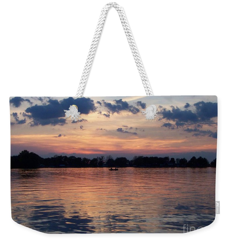Lake Weekender Tote Bag featuring the photograph Sunset On Lake Mattoon by Kathy McClure