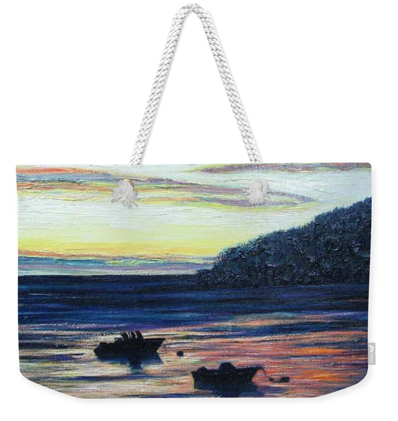 Maine Weekender Tote Bag featuring the painting Sunset On Maine Coast by Richard Nowak