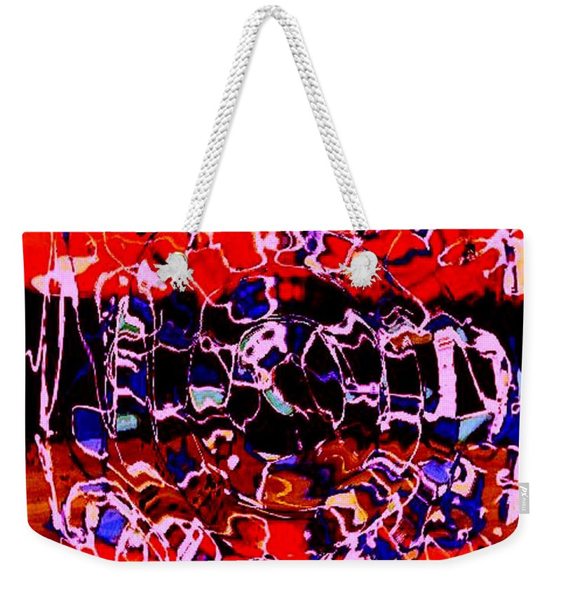 Abstract Weekender Tote Bag featuring the painting Sunset On Seaweed Beach by Rusty Gladdish