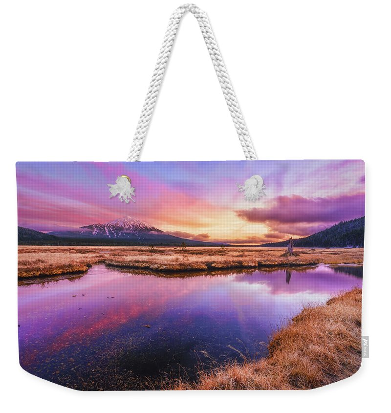 Sunset Weekender Tote Bag featuring the photograph Sunset On Sparks Marsh by S A Littau