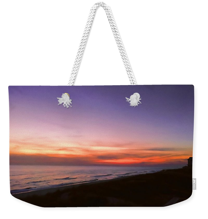 Sunset Weekender Tote Bag featuring the photograph Sunset On The Beach At Cape San Blas, Florida by WildBird Photographs