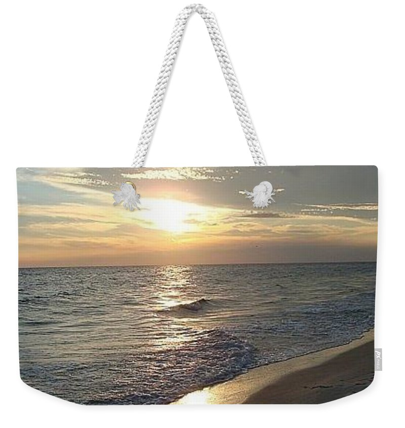 Sunset Weekender Tote Bag featuring the photograph Sunset On The Beach by Inspired Arts