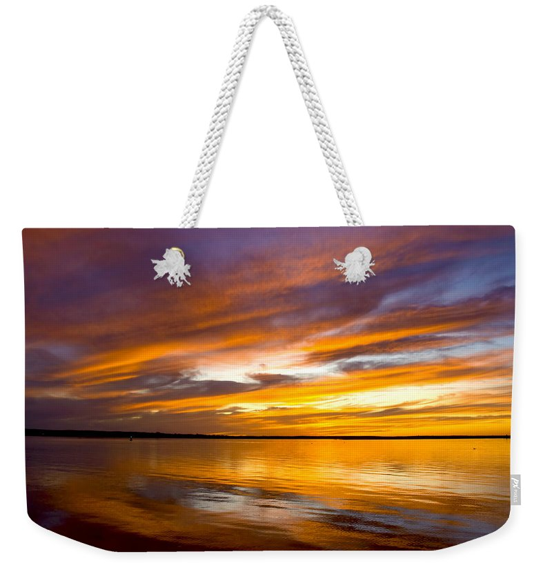 Sunset Weekender Tote Bag featuring the photograph Sunset On The Harbor by Charles Harden