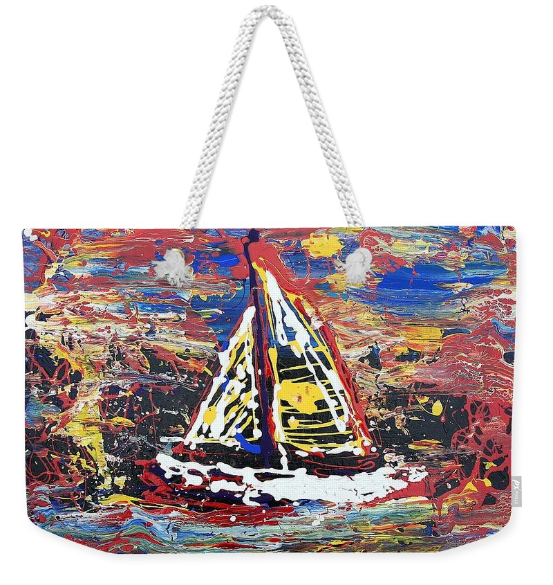 Sailboat Weekender Tote Bag featuring the painting Sunset On The Lake by J R Seymour