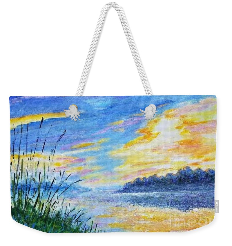 Autumn Landscape Weekender Tote Bag featuring the painting Sunset On The Lake by Olga Malamud-Pavlovich