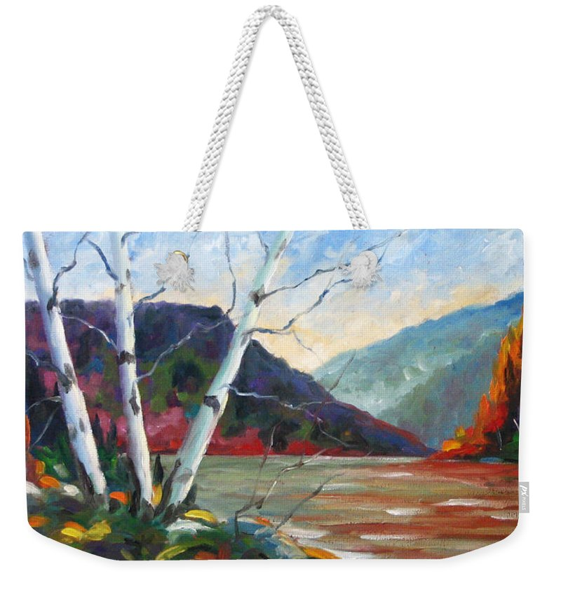 Landscape; Landscapes/scenic; Birches;sun;lake;pranke Weekender Tote Bag featuring the painting Sunset On The Lake by Richard T Pranke