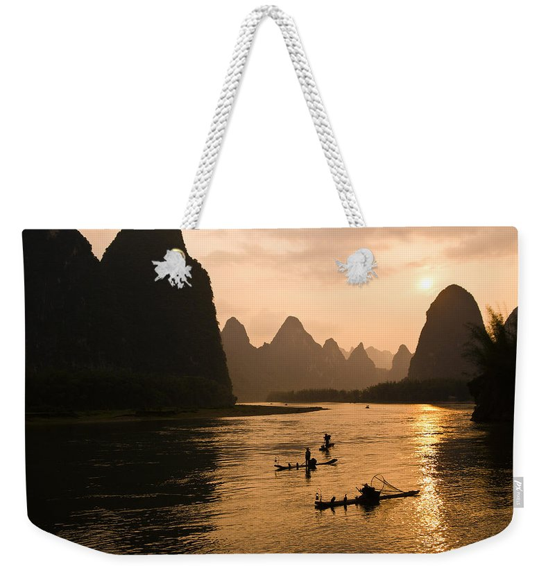 Asia Weekender Tote Bag featuring the photograph Sunset on the Li River by Michele Burgess