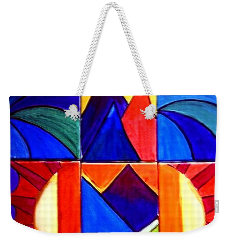 Abstract Sunset Weekender Tote Bag featuring the painting Sunset On The Peaks by Rusty Gladdish