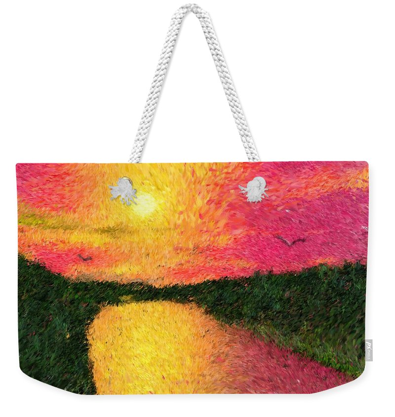 Digital Art Weekender Tote Bag featuring the digital art Sunset On The River by David Lane