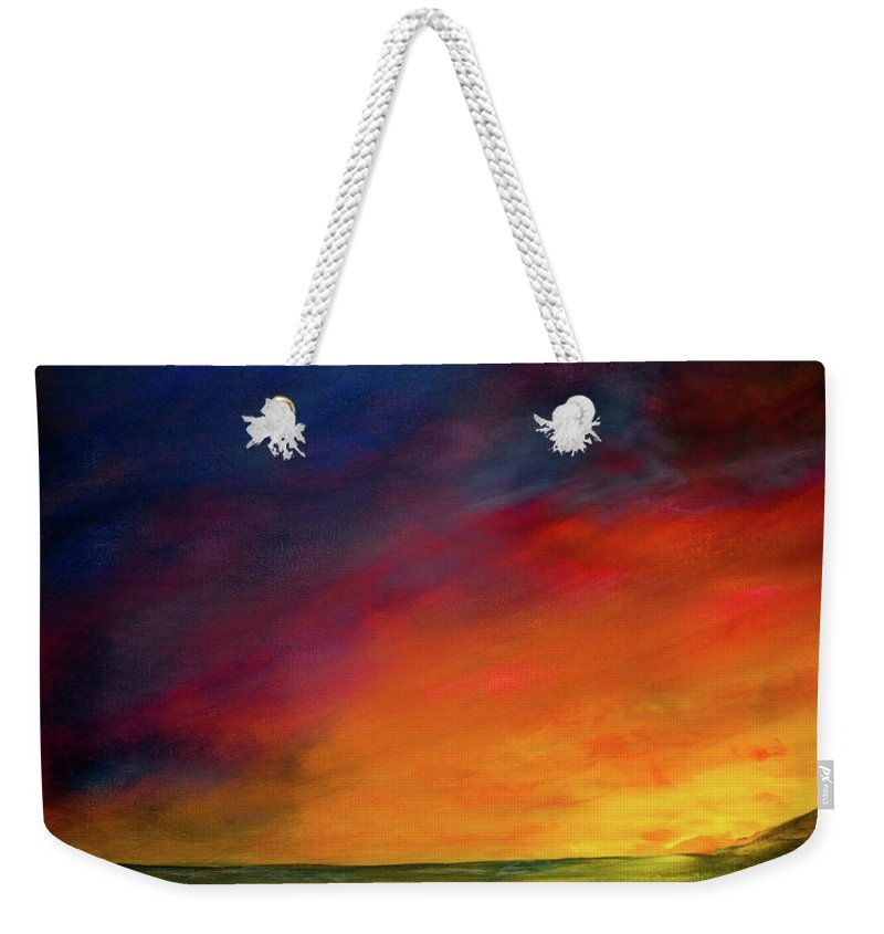 Sunset Weekender Tote Bag featuring the painting Sunset On The Shore by Dick Bourgault