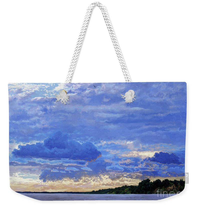 Landscapes Weekender Tote Bag featuring the painting Sunset On The Volga. Gorodets by Simon Kozhin