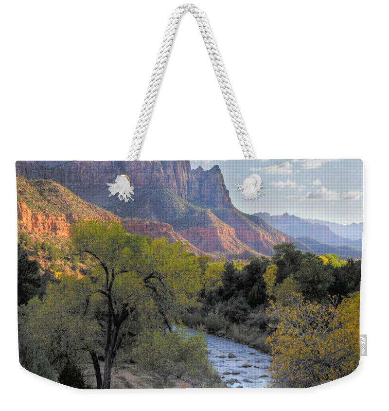 Hdr Weekender Tote Bag featuring the photograph Sunset On The Watchman by Sandra Bronstein