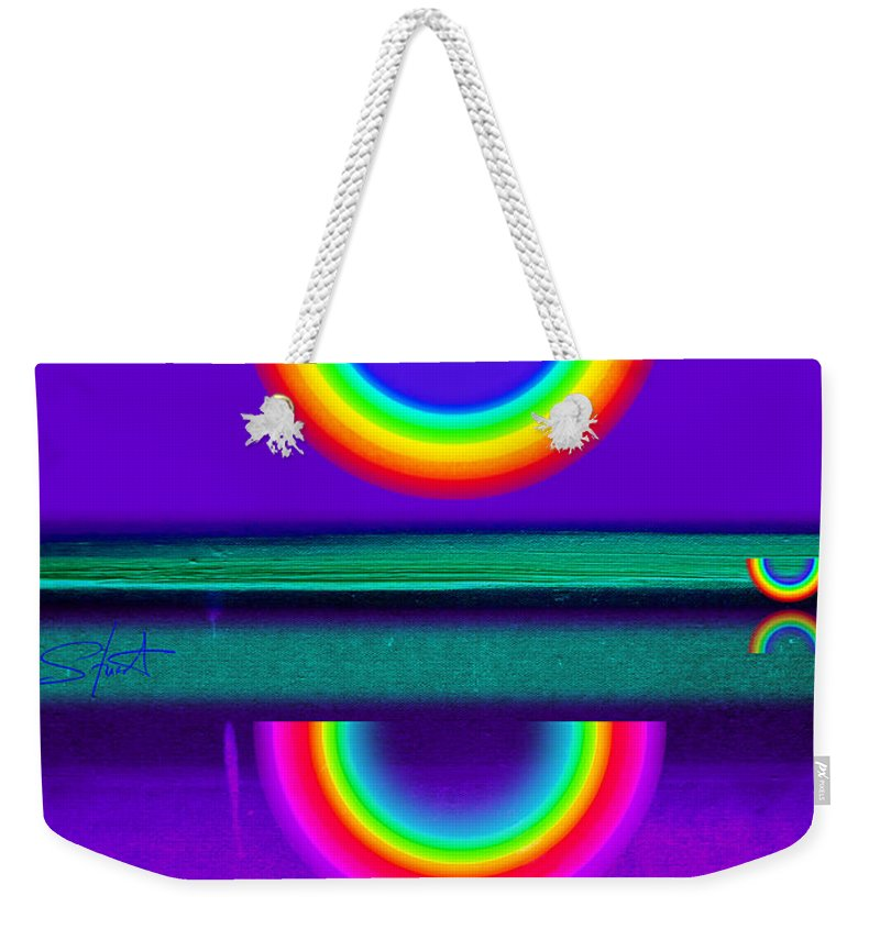 Reflections Weekender Tote Bag featuring the painting Sunset On Violet by Charles Stuart