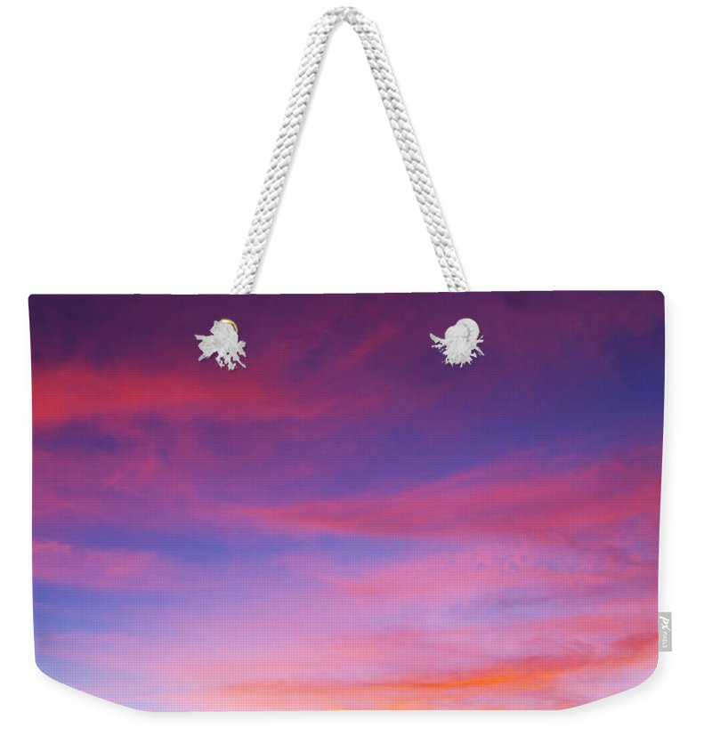 Sunset Weekender Tote Bag featuring the photograph Sunset Over Desert by Jill Reger