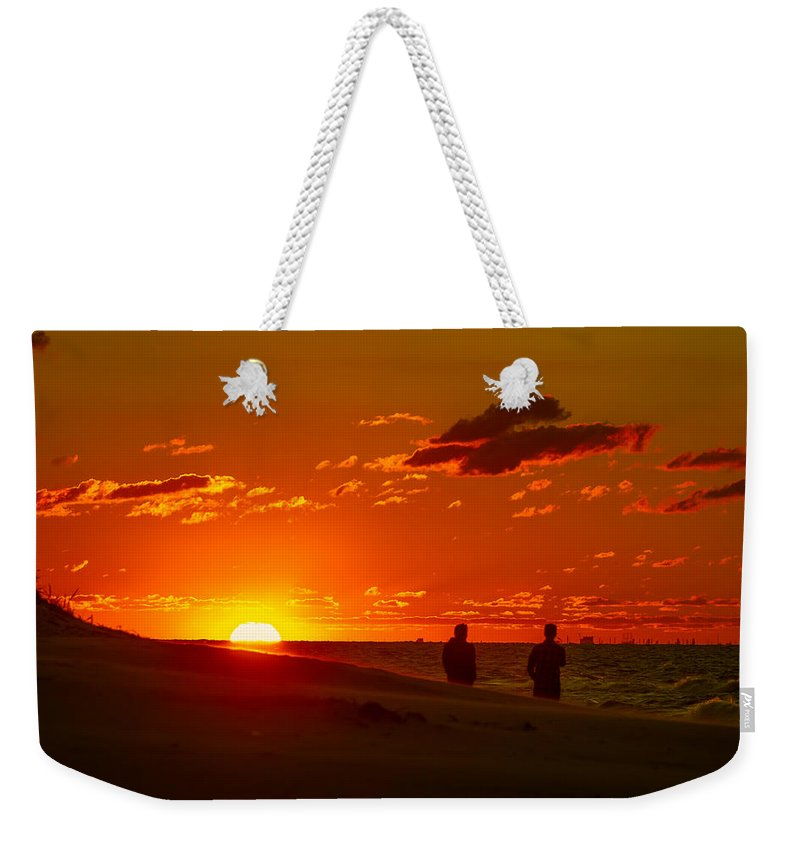 Beach Weekender Tote Bag featuring the photograph Sunset Over Indiana Dunes by Ron Pate