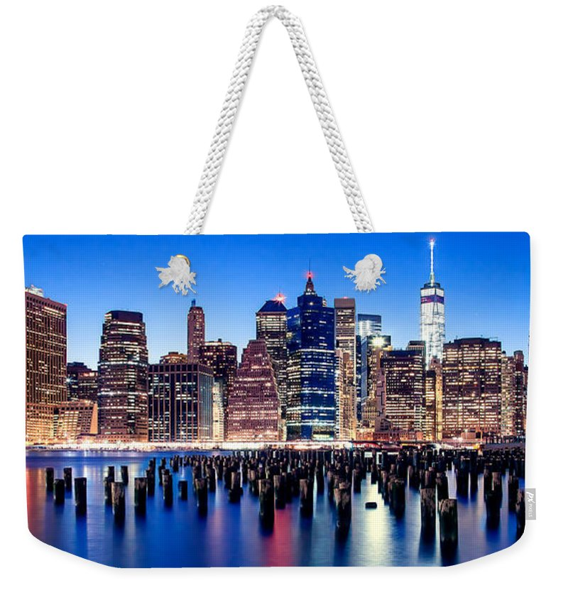 New York City Weekender Tote Bag featuring the photograph Magic Manhattan by Az Jackson