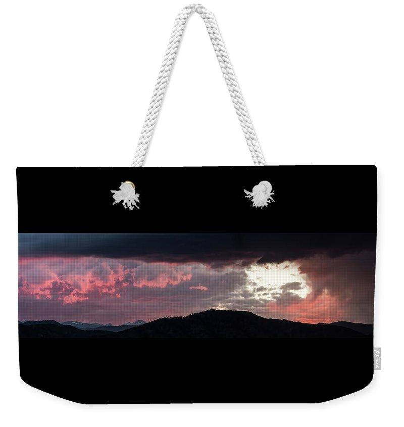 Sunset Weekender Tote Bag featuring the photograph Sunset Over Mount Sanitas by Marie-Dominique Verdier