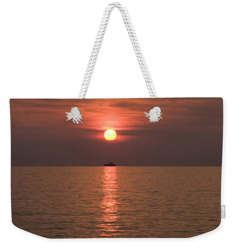 Sea Weekender Tote Bag featuring the photograph Sunset Over Pula by Ian Middleton