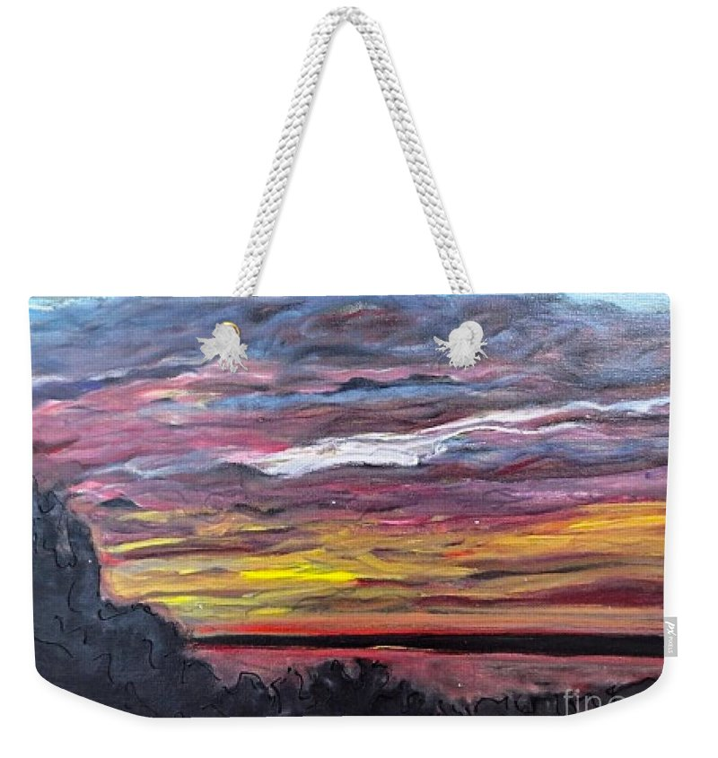 Mississippi River Weekender Tote Bag featuring the painting Sunset Over The Mississippi by Paula Baker