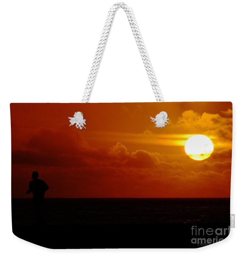 Clay Weekender Tote Bag featuring the photograph Sunset Over The Pacific by Clayton Bruster