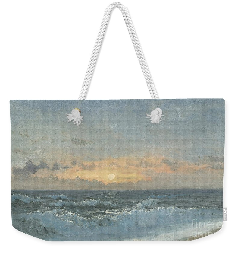 Seascape Weekender Tote Bag featuring the painting Sunset Over The Sea by William Pye
